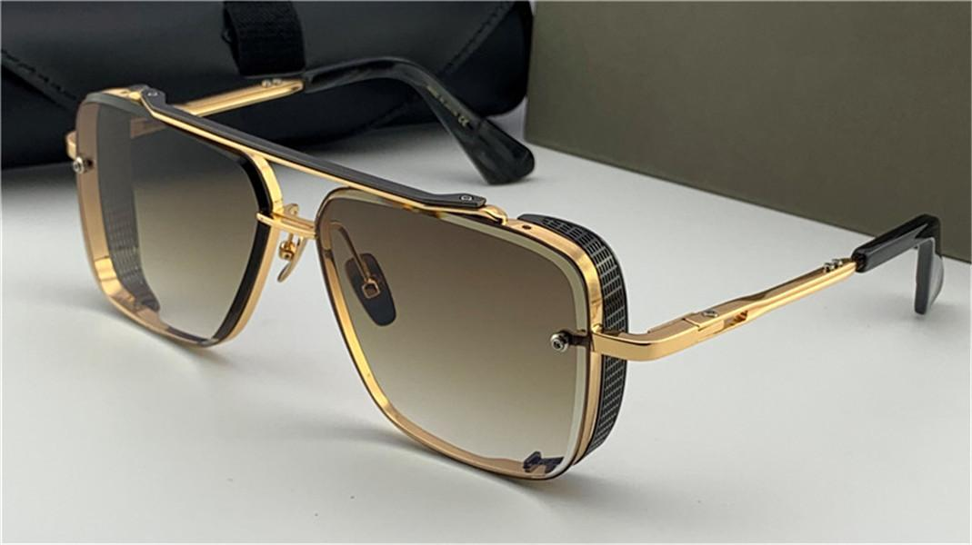 New design popular TOP sunglasses limited edition SIX men design K gold retro square frame crystal cutting lens with grid detachable