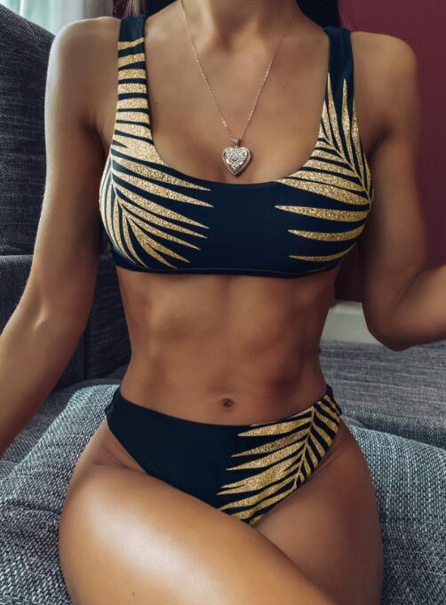 Conjunto de Bikinis sexy de una pieza vendaje escala de pescado impresión cordón leopardo cinturón volante alta cintura yakuda lentejuelas transparente correa de hombro 2020