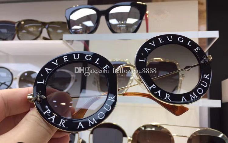 HOT Luxo 0113 abelhas óculos escuros de grife para as mulheres Estilo Moda Verão Redonda Quadro Top Quality UV Lens Proteção vindo com caso
