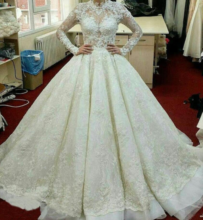 Nuovo 2020 Ivory Pizzo Abiti da sposa d'epoca Sheer maniche lunghe nuziale africano abiti Corte dei treni plus size abito da vestidos da sposa