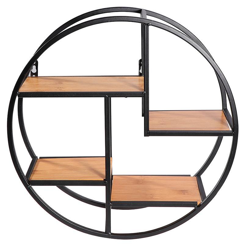 Montado en la pared del hierro del estante del sostenedor del estante de la pared redonda de almacenamiento para despensa Sala de estar Dormitorio Cocina