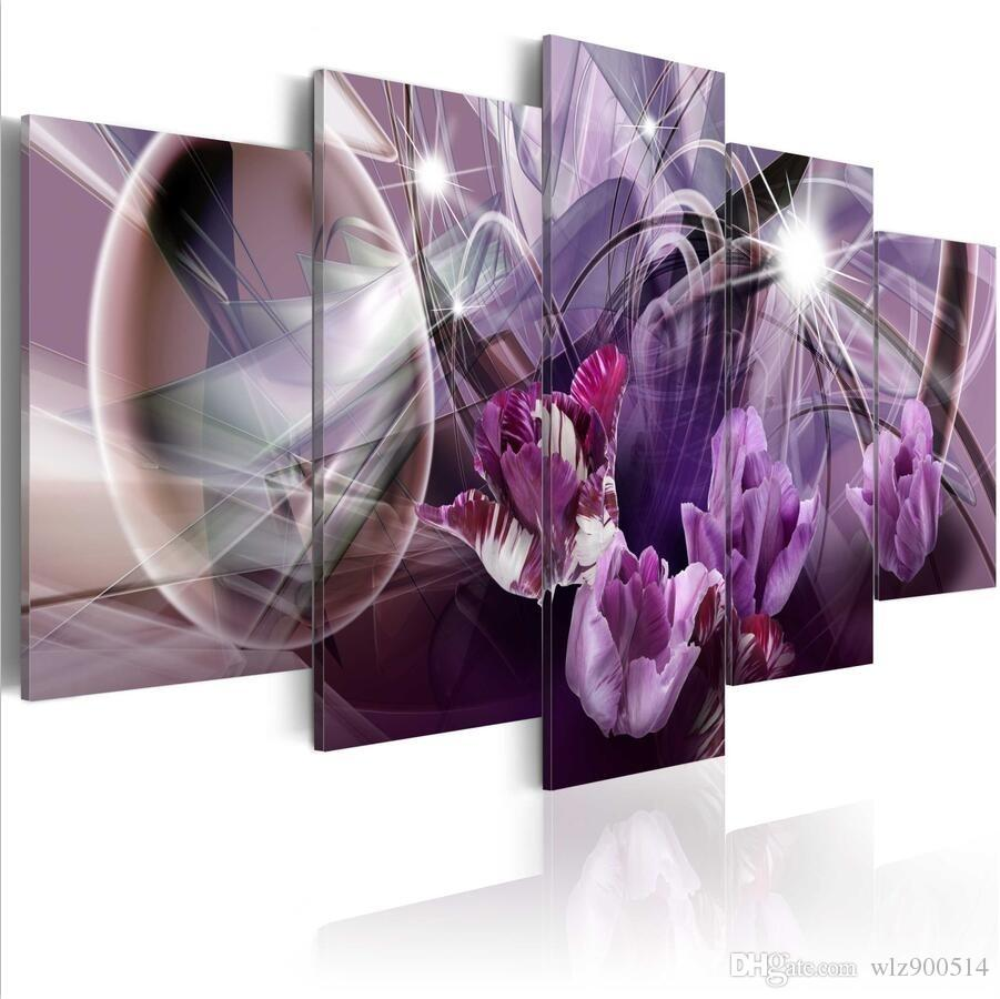 ( No Frame)5PCS/Set Modern Purple Tulips Flower Art Print Frameless Canvas Painting Wall Picture Home Decoration