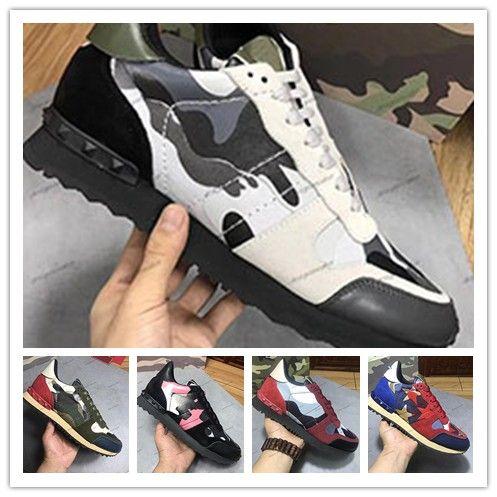 Yüksek Kalite Yeni Moda Kamuflaj Çiftler Ayakkabı Kadınlar Erkek Deri Spike Perçin Günlük Ayakkabılar Sneakers Ucuz Lüks Tasarımcı Sneakers 0j83