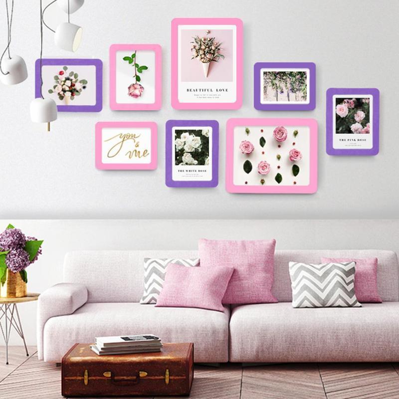 Creative photo Cadre photo mur intérieur moderne carrée monocouches Cadre jaune, rouge, rose, bleu
