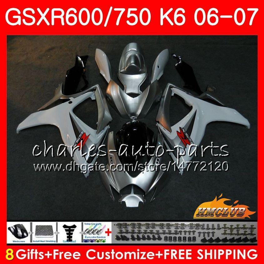 Lichaam voor Suzuki GSX R750 GSX R600 GSXR 600 750 GSXR750 06-07 8HC.83 GSXR-750 GSX-R600 K6 GSXR600 White Silvery 06 07 2006 2007 Fairing Kit