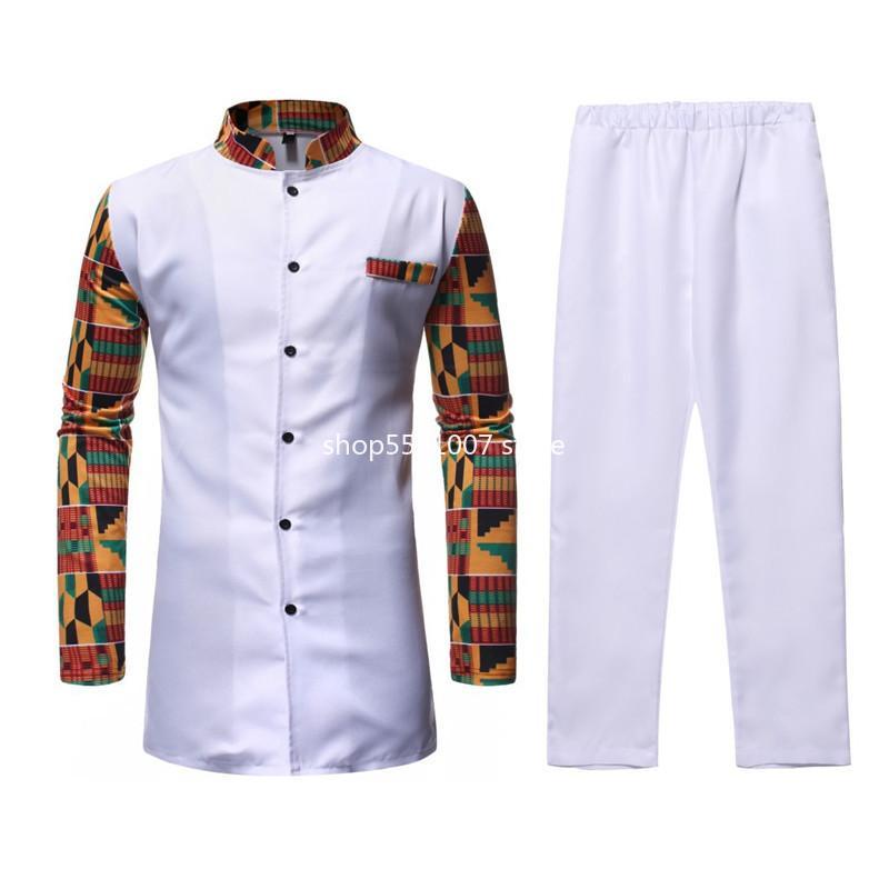 Этническая одежда белый Afriacn Dashiki платье рубашка брюки набор 2 штуки наряд уличные, повседневная мужская африканская одежда костюм