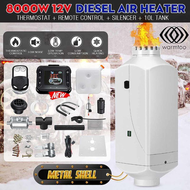 8000W Air diesels Heater 8KW 12V Metal Cover Car Heater For Trucks Motor-Home Boats Bus +LCD key Switch ++Remote Control