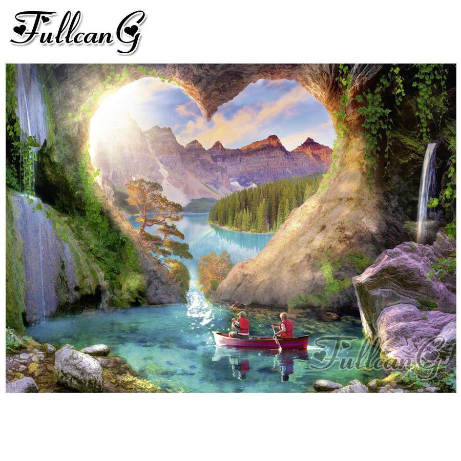 FULLCANG 5d DIY Diamant Malerei Fantasie Landschaft voller quadratisch / rund drill Mosaik Stickerei Verkauf Wasserfall Landschaft Geschenk FC1208