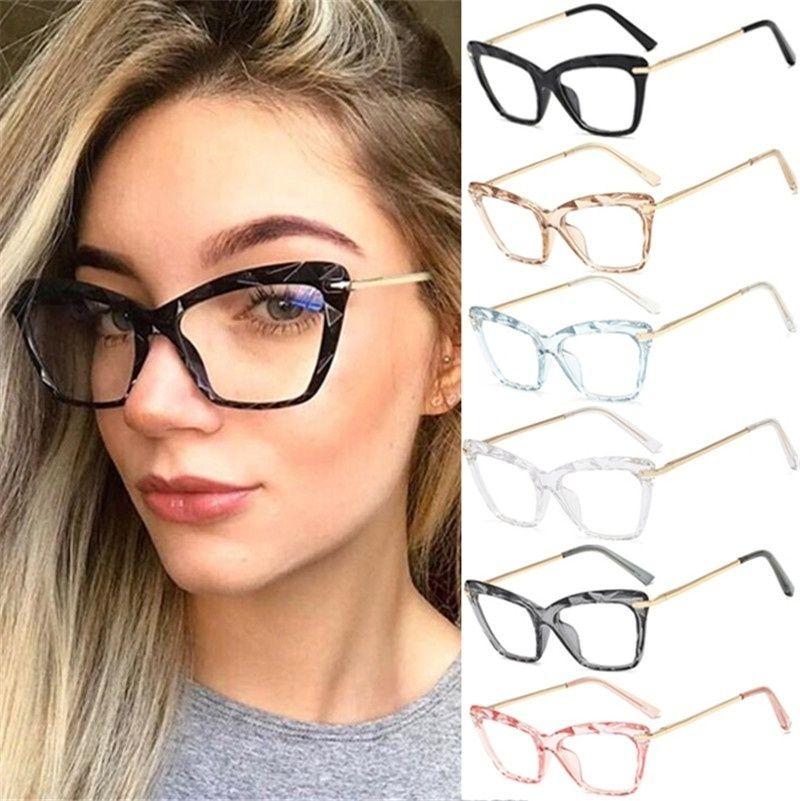 5 colori occhiali occhio di gatto cornice trasparente lente in metallo retrò signore struttura di vetro