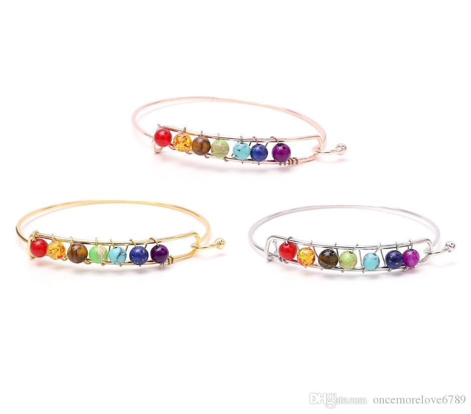Miglior regalo colorato di pietra naturale in rilievo BRACCIALE moda di personalità del braccialetto del progettista americano Popolare Hot donne degli uomini monili europei