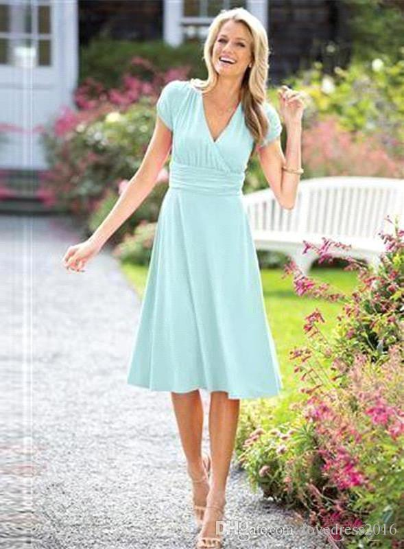 2019 professional many fashionable big discount 2019 Summer A Line Chiffon Mother Of The Bride Dresses V Neck Short Sleeves  Wedding Guest Dress Knee Length Party Gowns Purple Mother Of The Bride ...