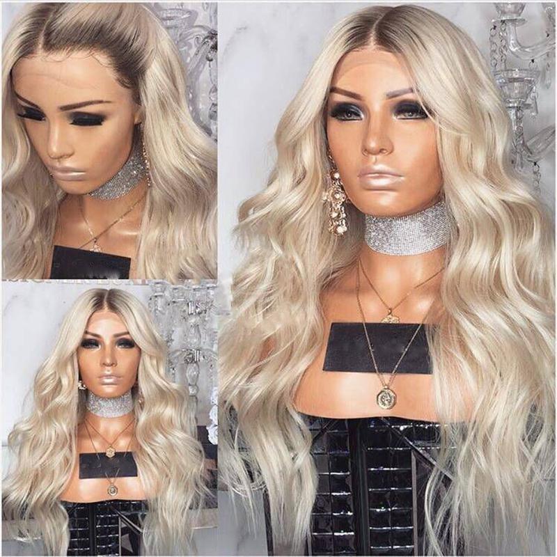 Longo da onda do corpo de calor sintética resistente a parte dianteira do laço perucas com o cabelo do bebê 180% Densidade Platinum Blonde Wig 24inch Ombre perucas para mulheres negras