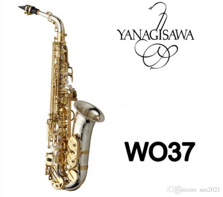 اليابان العلامة التجارية الجديدة ياناجيساوا AWO37 ألتو ساكسفون الفضة تصفيح مفتاح الذهب المهنية ياناجيساوا سوبر اللعب ساكس لسان الحال مع حالة