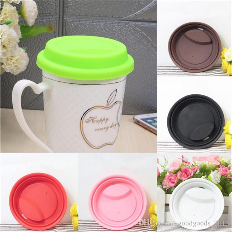 Silicone Solid Color Cup Lid Eco friendly Food Grade Silicone Cup Kitchen Coffee Cap Drinkware Accessories