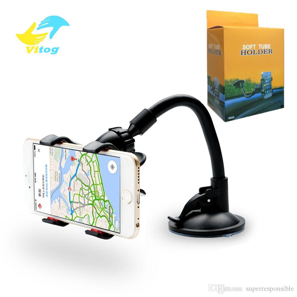 Vitog per iPhone 6 / 6S Doppia clip montaggio per auto, di facile utilizzo-universale Long Arm / collo 360 ° di rotazione supporto del parabrezza del telefono -Retail pacchetto