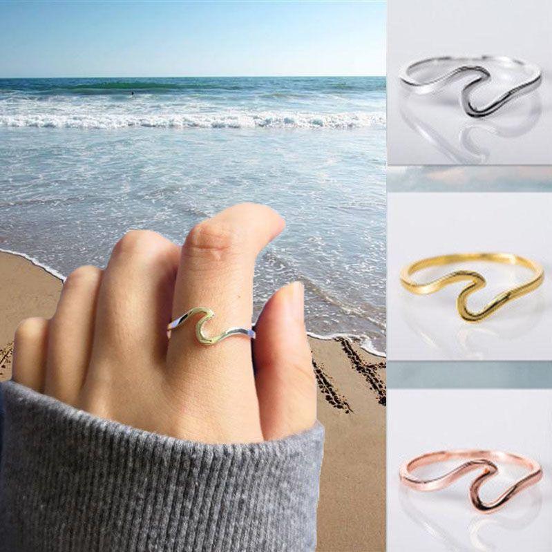 Kadınlar Boyut 5 6 7 8 9 10 için 925 Gümüş Dalga Yüzük Moda Yaz Plaj Dalga Yüzük