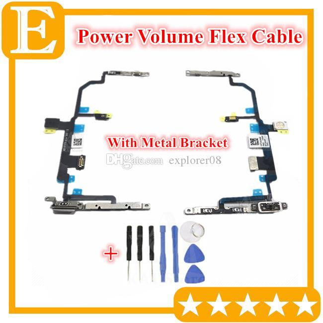 Tested Working Power Volume Flex for IPhone 8 8 Plus Power Volume Button Mute Switch Flash Light Flex Cable With Pre-installed Metal Bracket