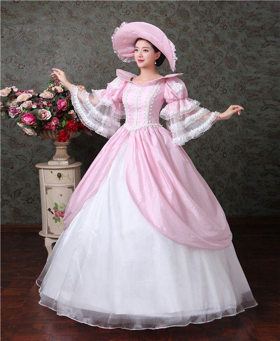 настоящее розовое кружево расклешенный рукав рококо Средневековое платье в шляпе Ренессанс платье Сисси платье принцессы Викторианская / Мари / Belle платье / бальное платье