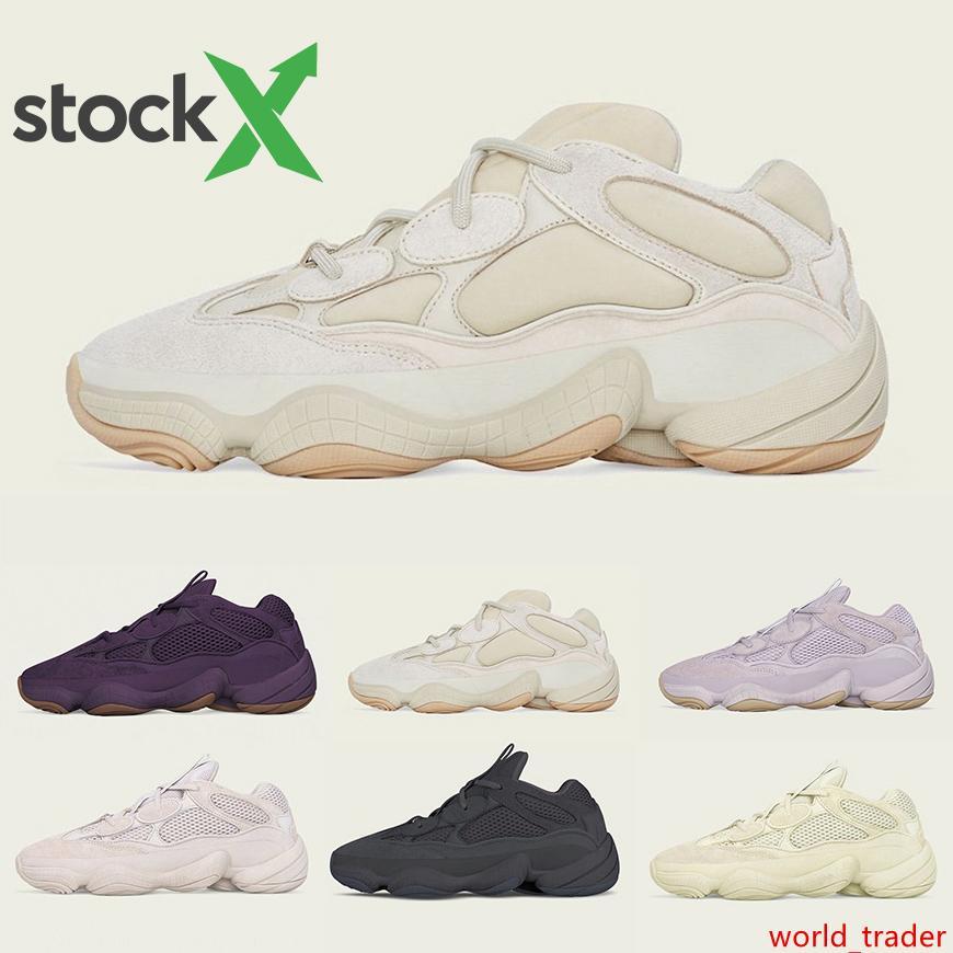 Soft Vision 500 Stone Bone White Running Shoes Mens Womens Super Moon Yellow Utility Black Blush Salt Kanye West Designer Sports Sneakers