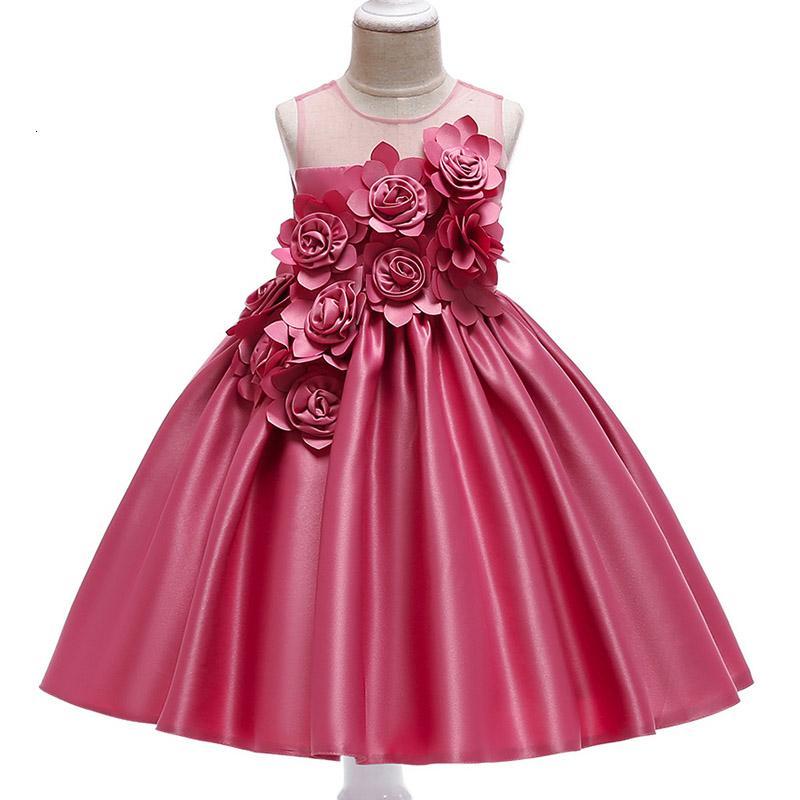 Abiti ragazze Rose Petal Flower Girl Principessa partito per Matrimoni di compleanno dei bambini vestiti della ragazza che coprono il bambino costume L5068 T191007