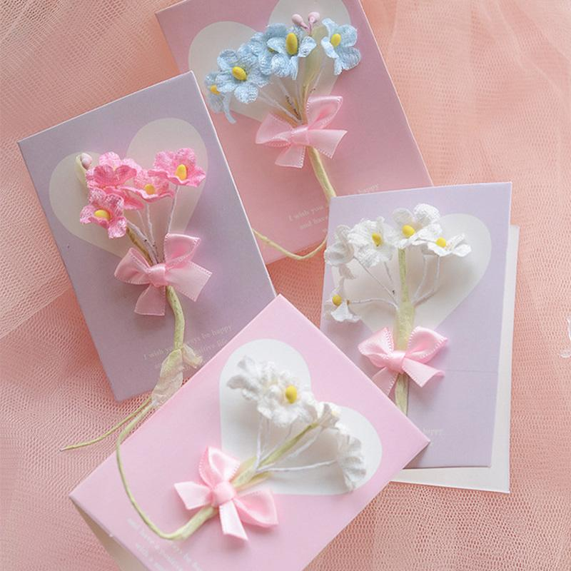 Small fresh flower greeting card birthday card Valentine's day flower greeting card- ZY20190727-01