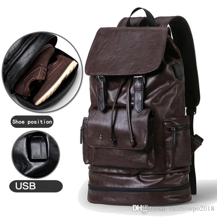 Factory outlet brand Men bag outdoor travel waterproof leather casual backpack with shoes multifunctional men backpack simple high-capaci