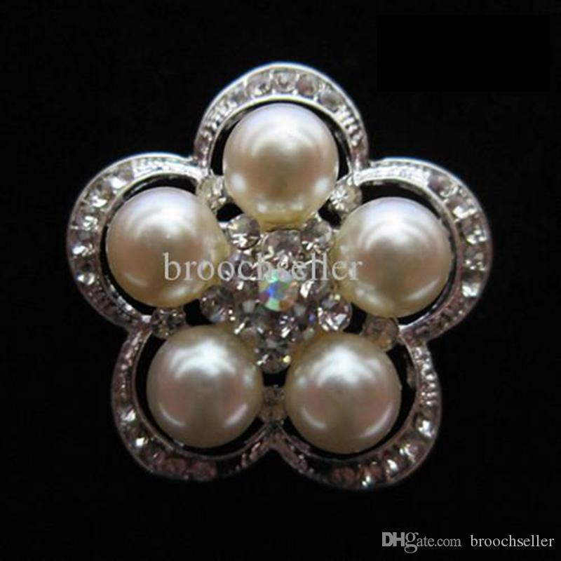 Sparkly Silver Tone Rensa Rhinestone Crystal Cream Pearl Flower Wedding Bouquet Brosch