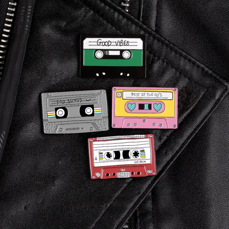 DHL libre de la cinta de grabación Pin brillante en colores pastel de la cinta de casete esmalte Pasadores 90 Nostalgia Música Broche Accesorios Arte magnífico 4 Estilos X60FZ