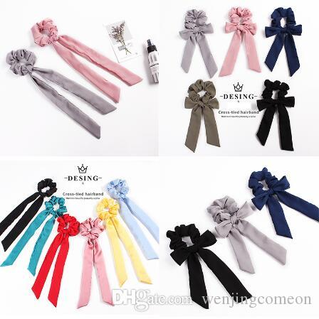 Solid color Bow Women Hair rope Scrunchies Elastic Ribbon Lady Hair Band Statement Accessories Bow Hair Ties