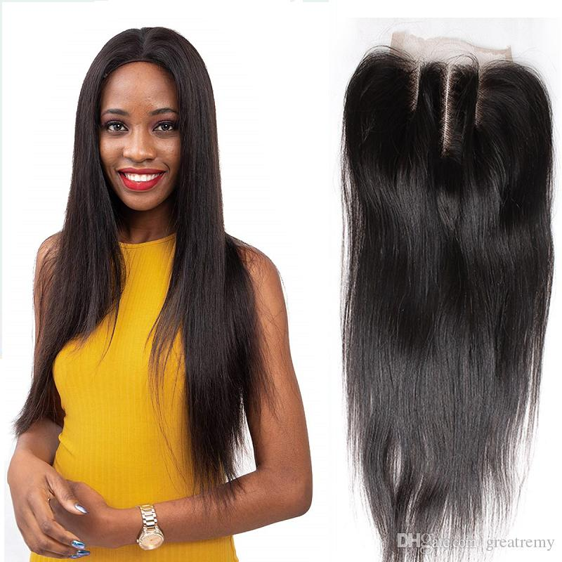 Greatremy Pré arrancada 3 Parte Lace Encerramento indiano Cabelo Humano 10-18inch Hetero Virgin cabelo Encerramento 4 * 4 frete grátis (somente para os EUA)