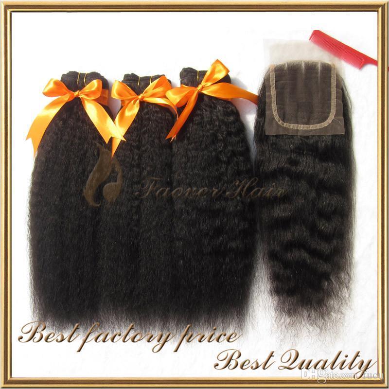 top cheveux couleur naturelle vierge brazilian yaki crépus grossier droit 3 pcs tissage de cheveux avec 1 pc dentelle Fermeture de lot de