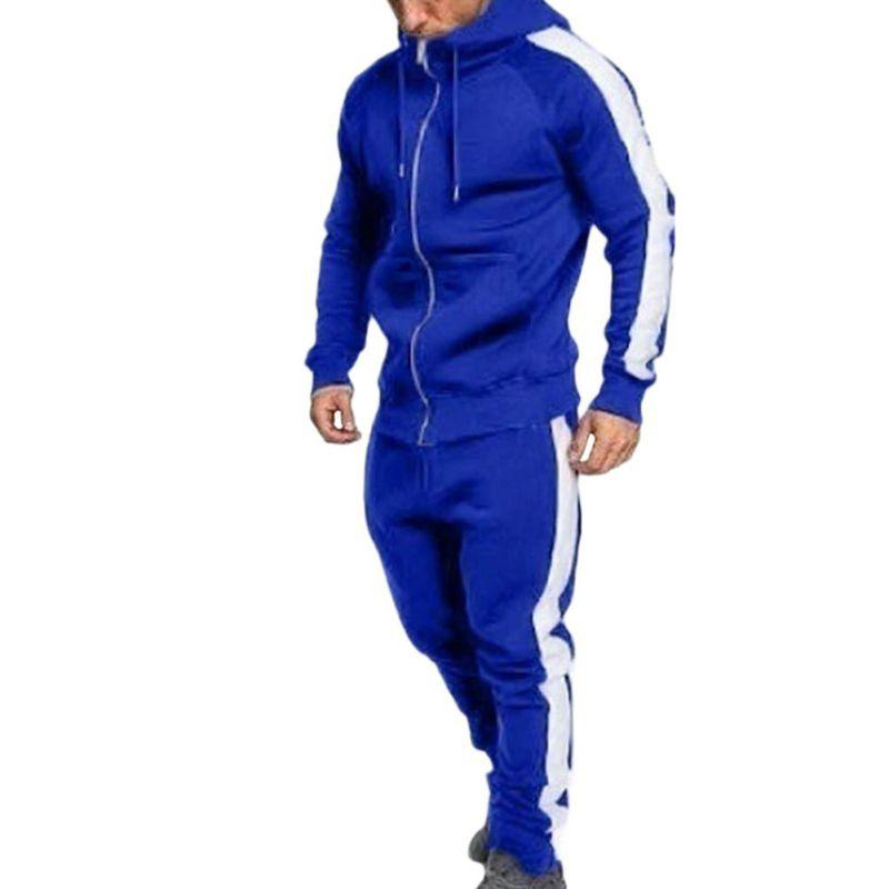 Men Zipper Tracksuit Fashion Side Striped Hooded Hoodies Jacket Pants Track Suits Men Casual 2 Pieces Sweatsuit