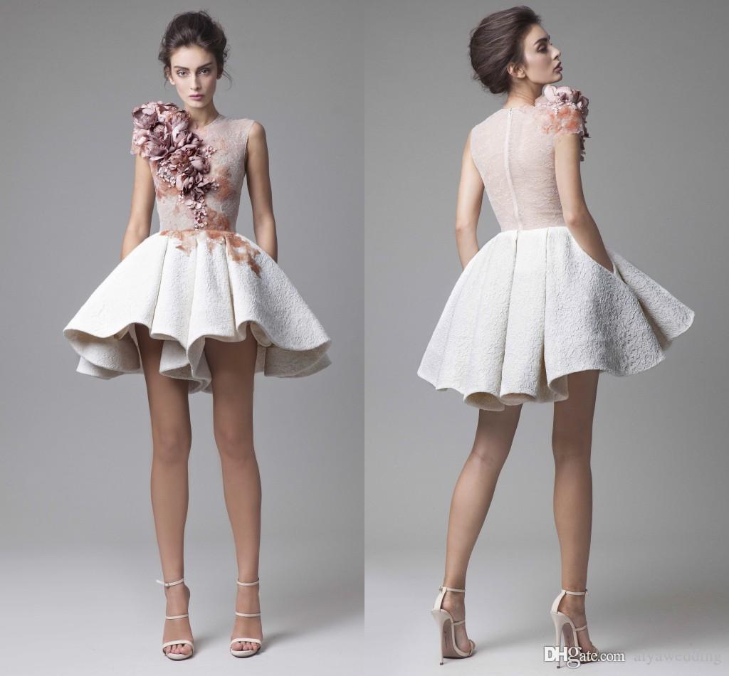 New Krikor Jabotian kurze Cocktailkleider Striking Rüschen 3D Handgefertigte florale Applikationen Partei-Kleid-Abend Modest Stilvolle Vestidos
