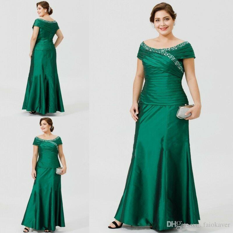 Verde 2019 Mermaid madre della sposa abiti pizzo cristallo maniche corte abito da sposa abito da terra elegante madre abiti