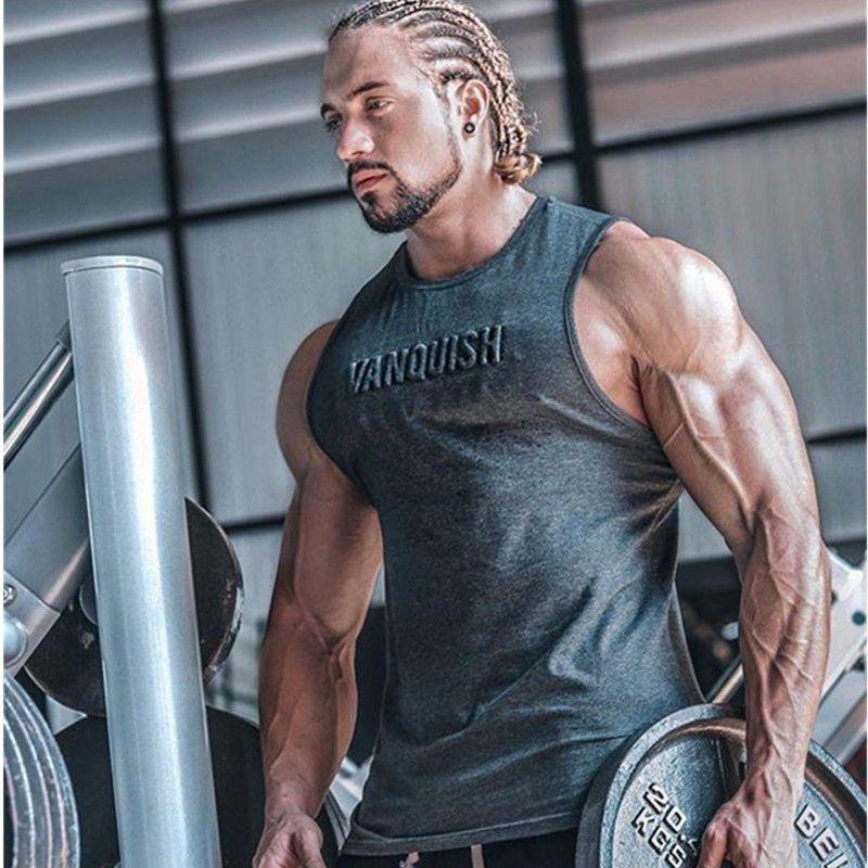 2018 Spor Salonları Egzersiz Kolsuz Gömlek Tank Top Erkek Vücut Geliştirme Giyim Spor Erkek Spor yelekleri Giymek Kas Tank Tops