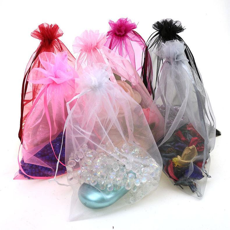 100 шт. / лот 7x9 см органза сумки ювелирные изделия упаковка сумки свадебный подарок сумка шнурок ювелирные изделия мешок
