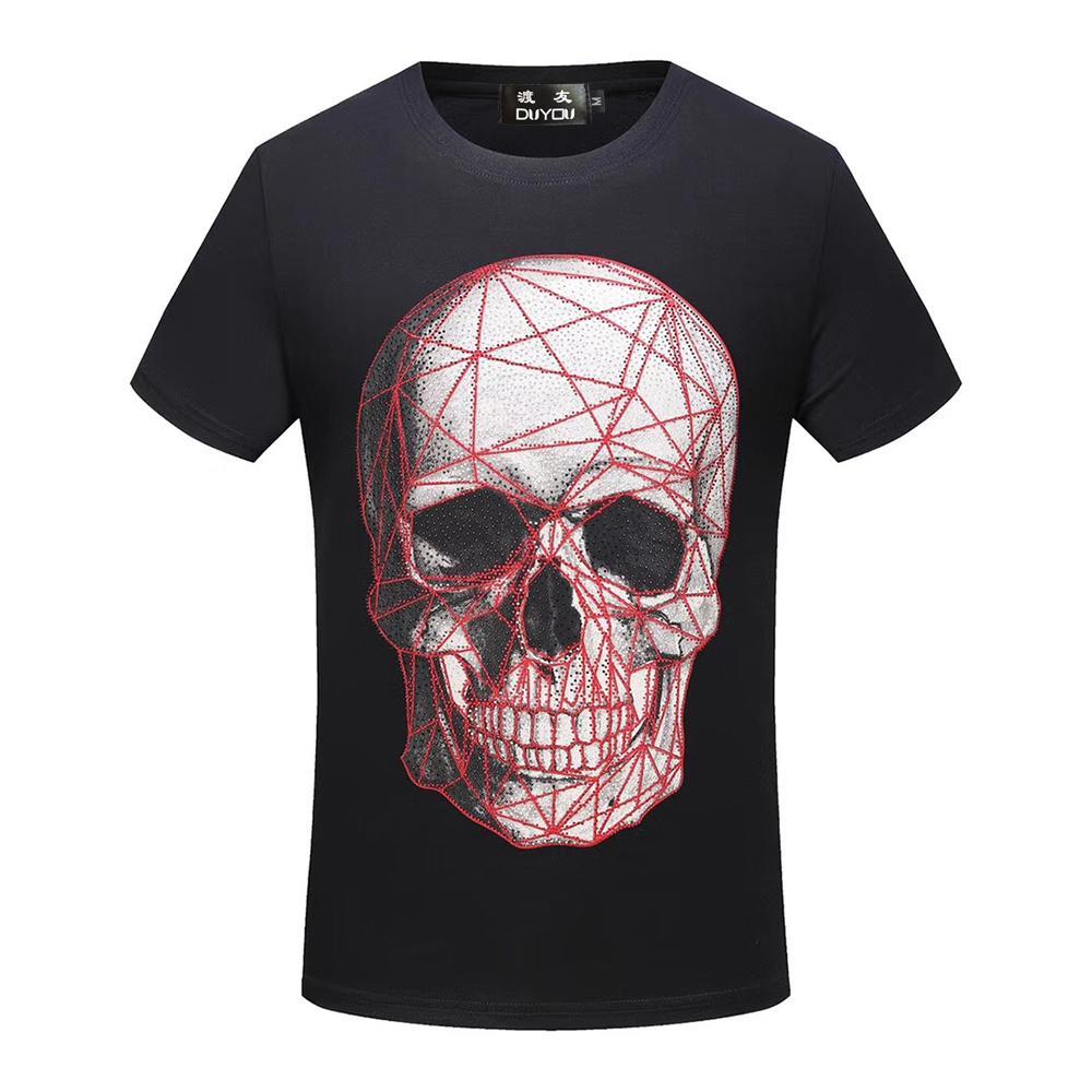 ¡Bolso de los bolsos de PP! Diseñador para hombre de la camiseta de los hombres de manga corta camiseta de los hombres de algodón Top Tees Verano Verano Rhinestone de malla cráneo Camisetas