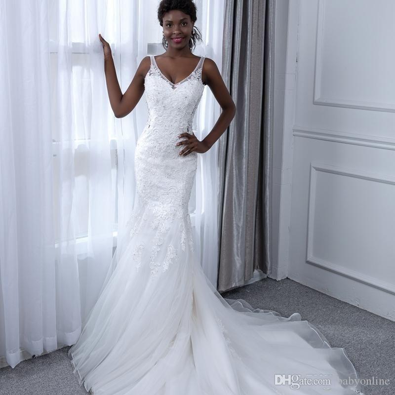 Superbe sirène robes de mariée 2020 V Neck Sheer Bracelet froncé Tulle balayage train africaine Robes de mariée Custom Made robe de mariée