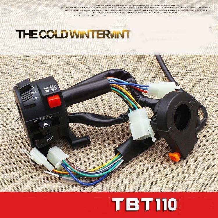 Tbt110 Handlebar Switch Assembly Bent Beam 110 48 Мощный Мотоцикл Интегрированный Комбинированный Переключатель, Гибкая Работа
