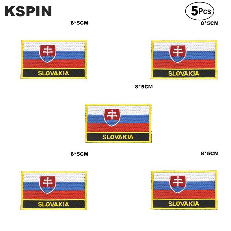 Bandera de Eslovaquia bordado parches de hierro en Sierra de parches de Transferencia de coser Las solicitudes de ropa en el huerto casero 5pcs