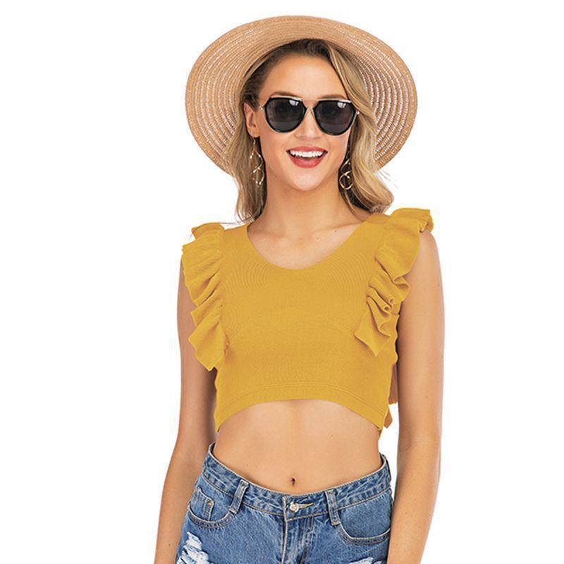 Frauen Sleeveless Strick Weste Kurzes Hemd Frilling Slim Camis Sexy Sun Tank Tops Rüsche Weste 4 Farben Srnxu