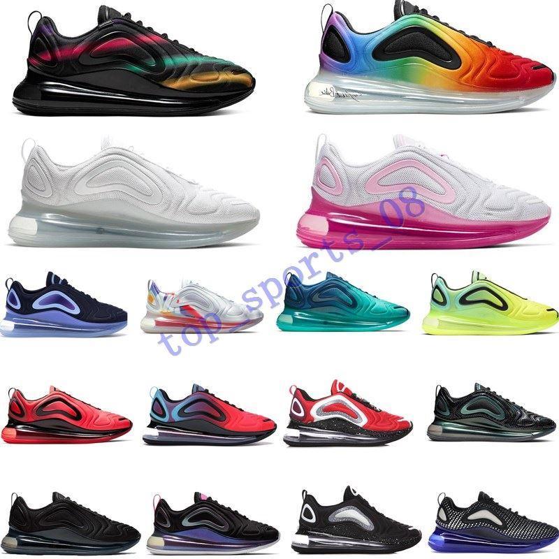 2020 720OG الاحذية بكسل أسود أزرق أحمر السريين يكون قزحي الألوان الحقيقية شبكة الشروق الوردي البحر إمرأة رجل حذاء مصمم المدربين