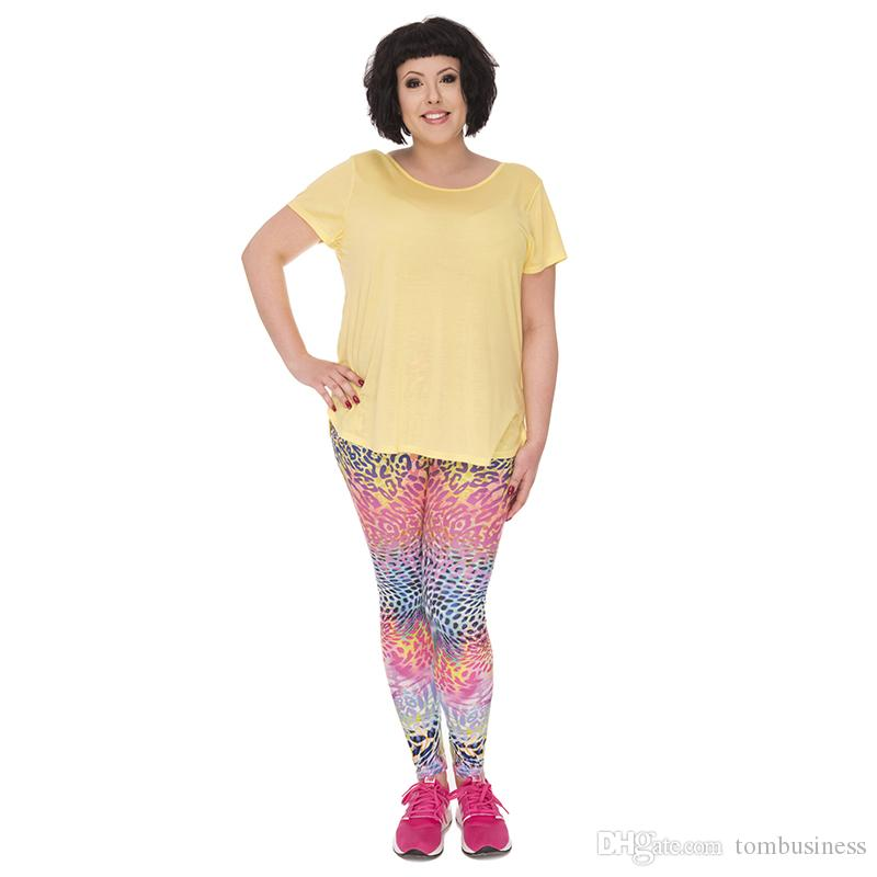 Woman Plus Size Leggings Colored Spots 3D Digital Full Printed Workout Yoga Wear Pants Lady Fitness Jeggings Girl Runner Pencil Fit (Y45750)