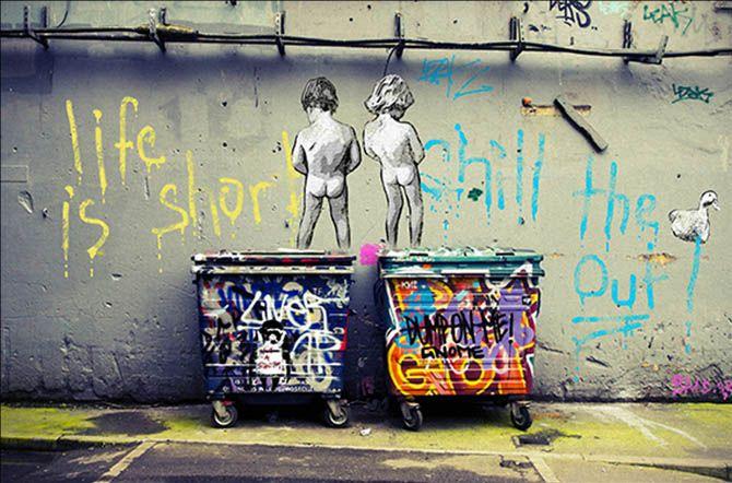 Banksy Graffiti arte abstracta da lona Pintura a vida é curta Frio The Duck Out Home Decor pintado à mão HD Imprimir Wall Art Canvas 200117