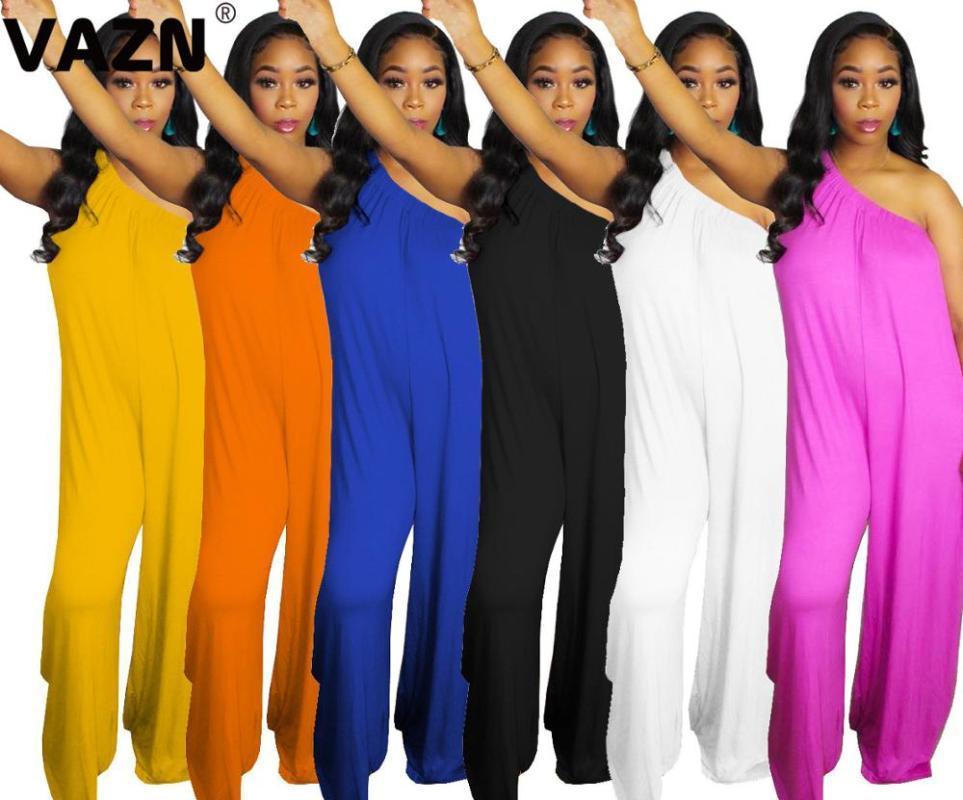 VAZN Популярная 2020 лета сексуальной женщина 6 цветов твердая длинная прямой комбинезон на одно плеча компании GAUZY комбинезон леди улицы