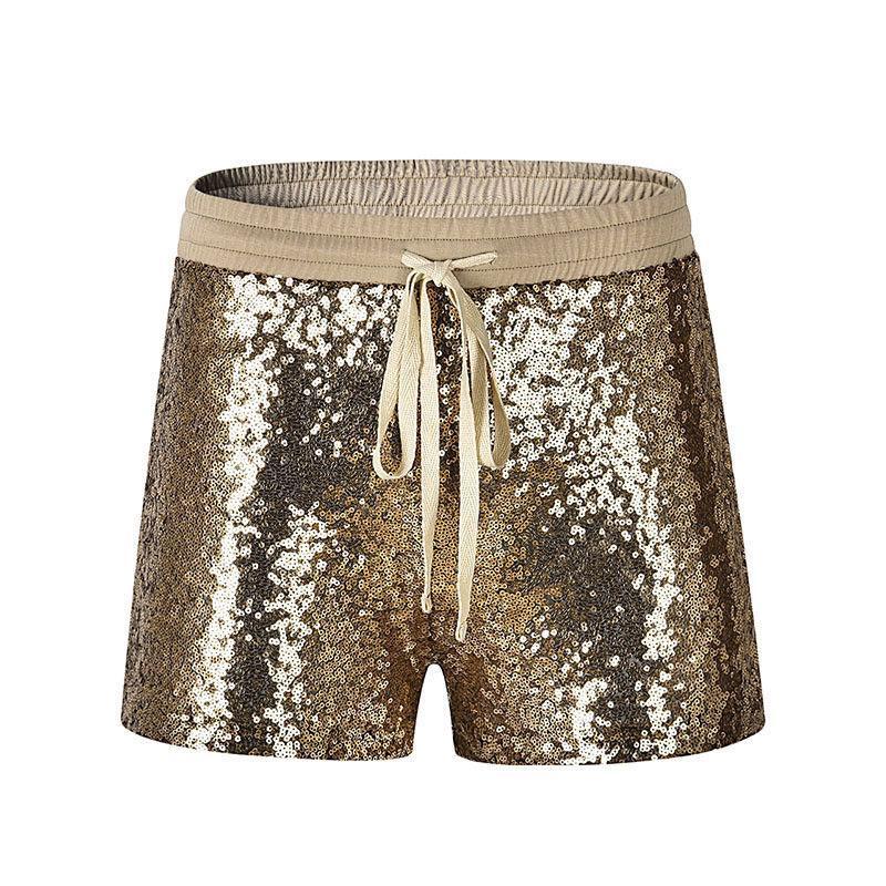 Casual mujeres oro caliente pantalones cortos de verano de las lentejuelas suelta cortocircuitos Minifalda de cintura alta Pantalones cortos