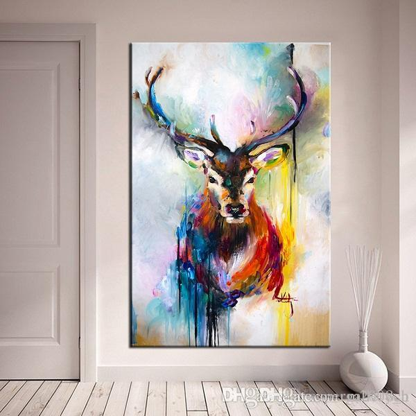 Handpainted & HD Print Modern Abstract Animal Art oil painting Deer Home Wall Decor On High Quality Thick Canvas Multi Sizes a79