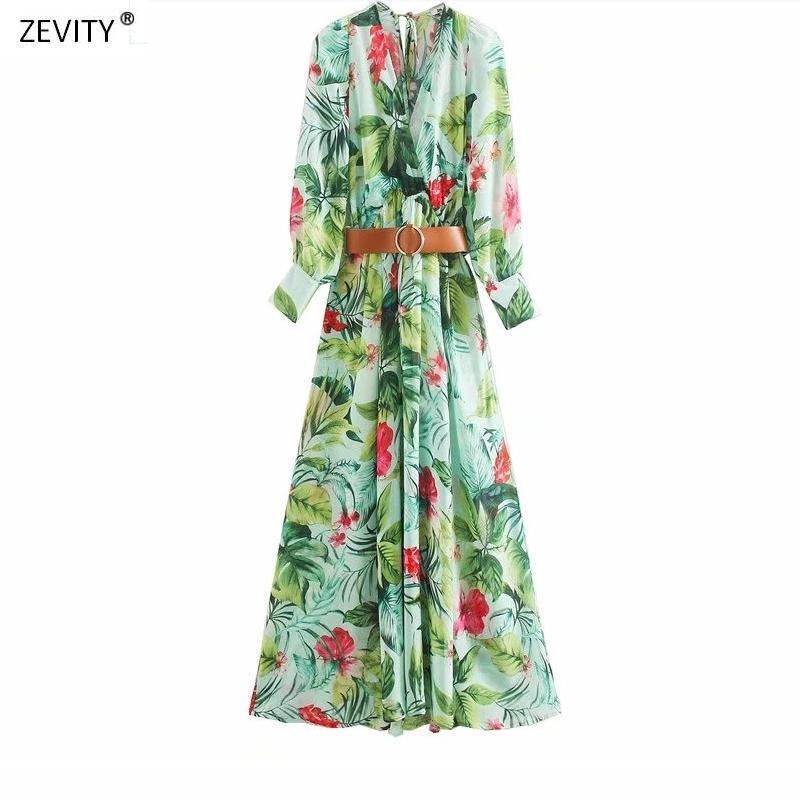 Yeni 2020 kadın bağbozumu v boyun çiçek yeşil yapraklar yazdırmak kırmızı gündelik midi elbise bayanlar kanatlar vestidos şık şifon elbiseler DS3635 T200603