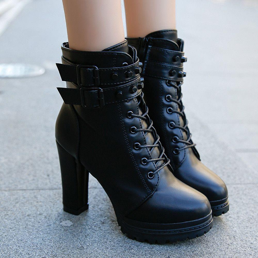 Kadınlar Çizmeler Ayak Bileği Çizmeler Kadınlar Için Lace Up Kare Topuk Kış Ayakkabı Rahat Süper Yüksek Topuk Çizmeler