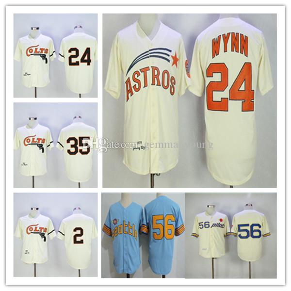 Homens Retro 1964 Houston Colts Nellie Fox Jimmy Wynn Joe Morgan Jersey costurado Creme Azul 1969 Seattle Pilots Jim Bouton aposentado shirt barato